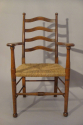 Arts and Crafts Oak rush seat chair, English c1900 - picture 1