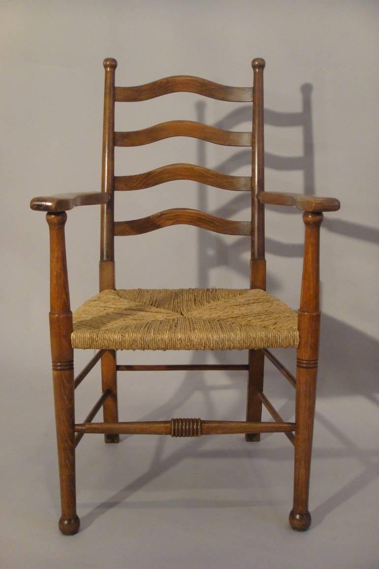 Arts and Crafts Oak rush seat chair, English c1900