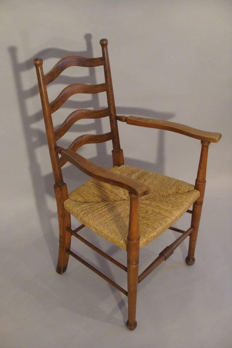 Arts and crafts oak rush seat chair english c1900 in for English chair design