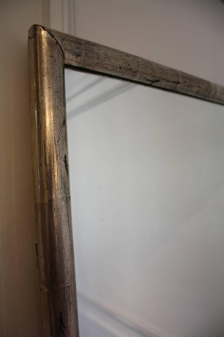 Long, tall, silver leaf French bistro mirror, c1900