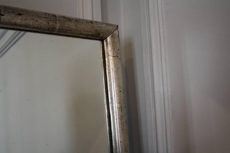 Long tall silver leaf french bistro mirror c1900 in mirrors for Silver long mirror