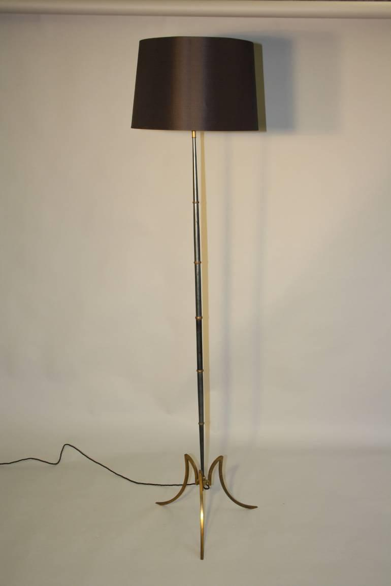 French 1950`s grey/blue metal and brass floor lamp