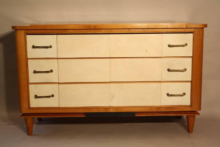 Parchment chest of drawers, c1950