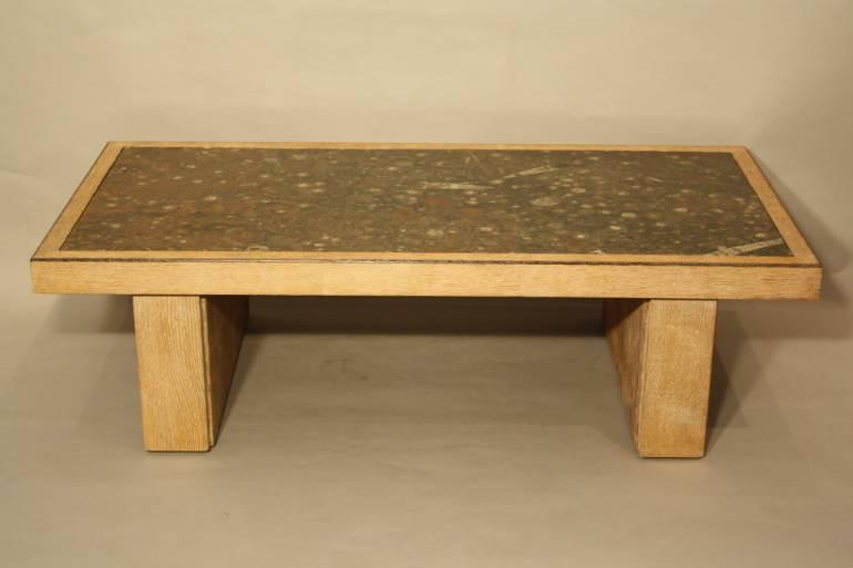 Fossil and solid oak coffee table