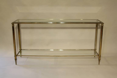 A silver and gold metal two tier console, French c1970
