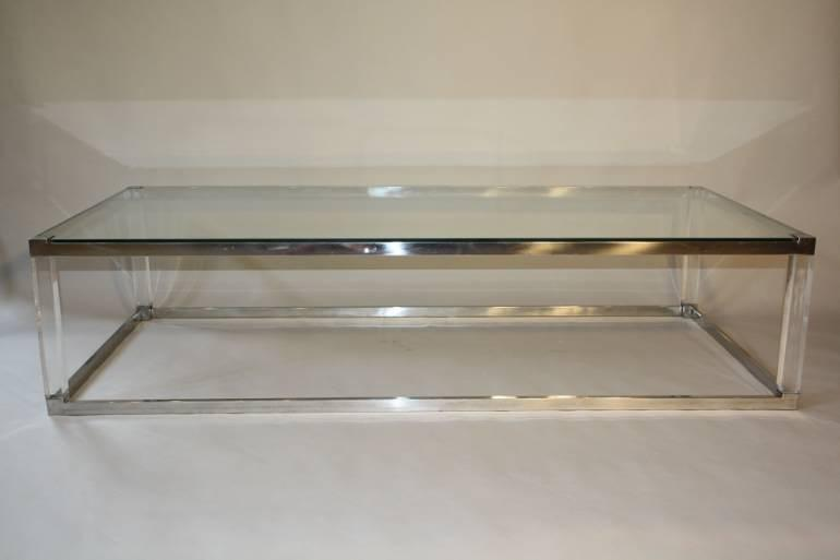 Long rectangular glass, lucite and silver metal 1970`s coffee table