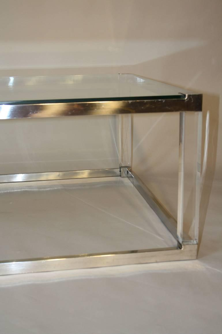 Rectangular Glass Coffee Table: Long Rectangular Glass, Lucite And Silver Metal 1970`s