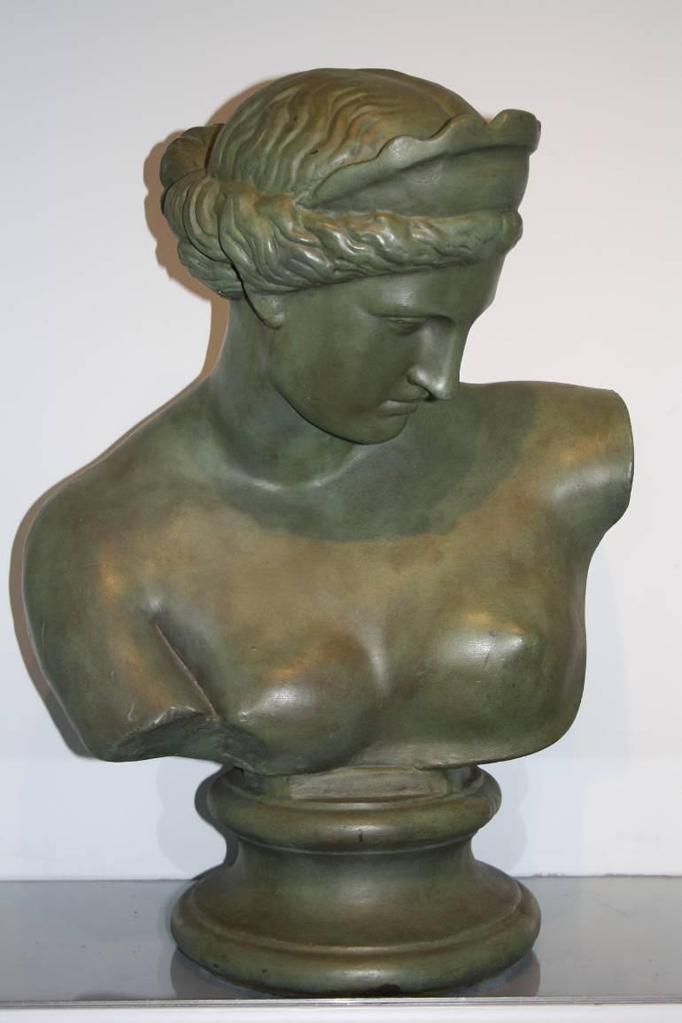 20thC green painted plaster bust of Aphrodite - Venus de Milo