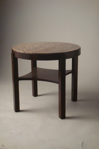 Antique Art Deco table with red marble top