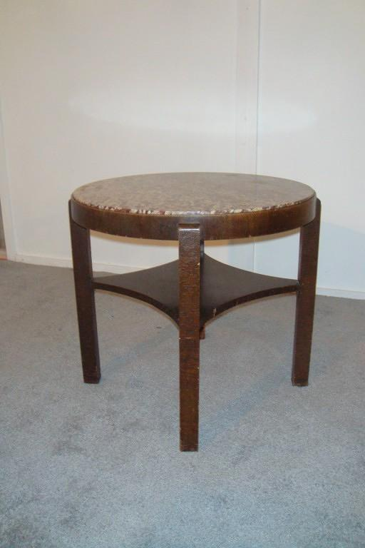 Red Marble Top : Antique art deco table with red marble top in furniture