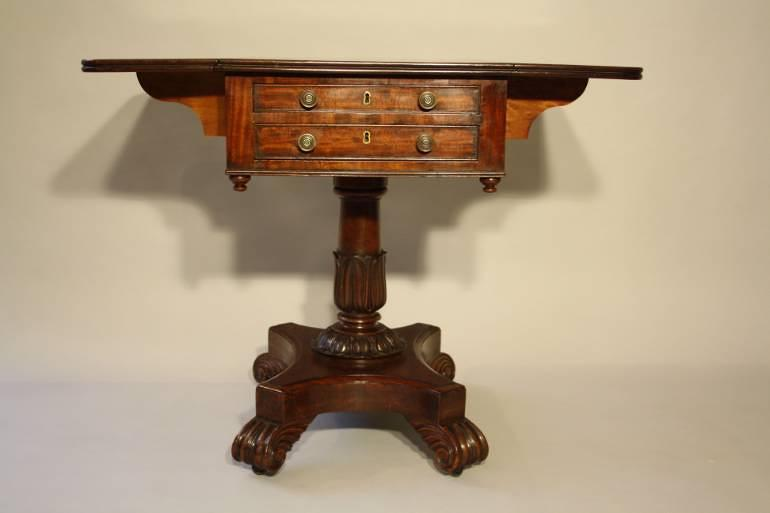 William IV mahogany work box table, c1837