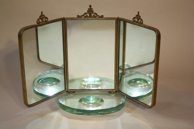 Italian triptych dressing table mirror