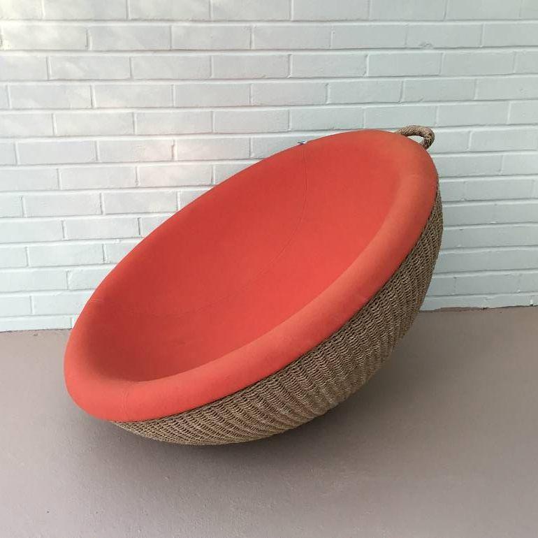 Rattan and Orange circular seat
