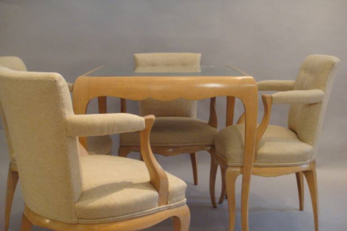 Rene Prou sycamore table and chairs, France c1935
