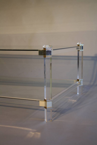 A two tier lucite rectangular coffee table, French c1970
