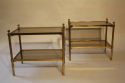 A pair of glass and brass two tier end tables - picture 2