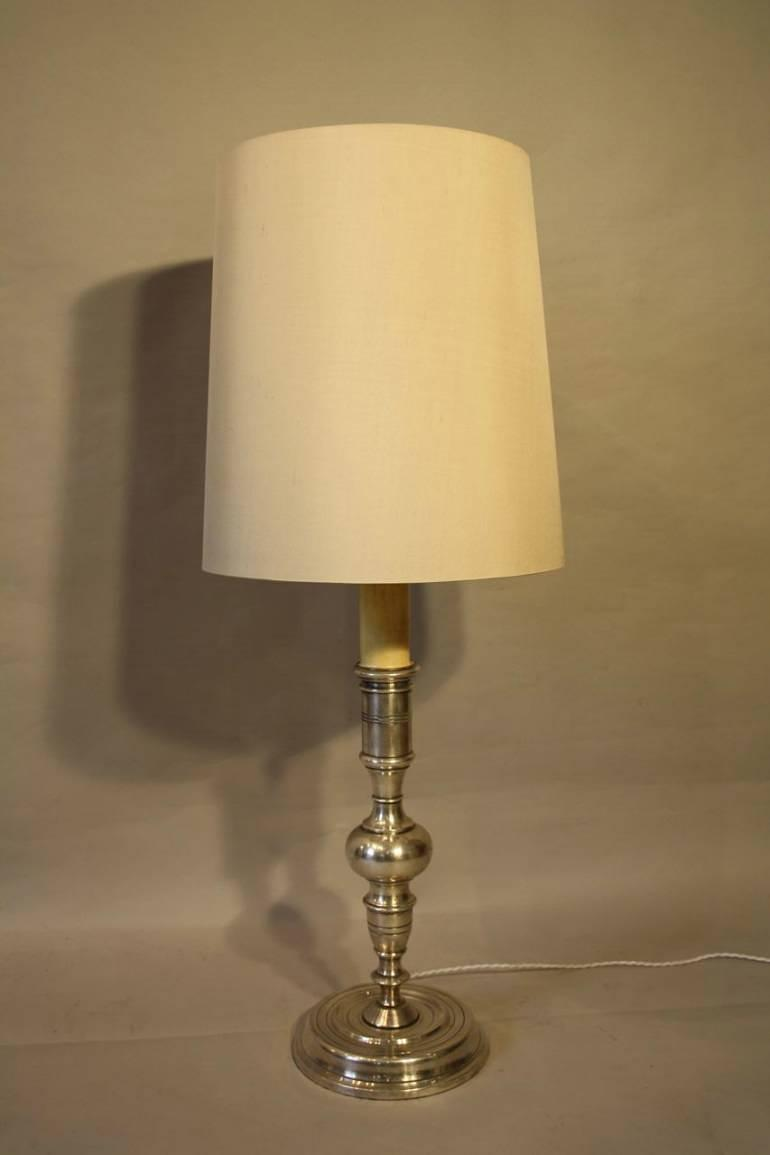 Tall silver Spanish table lamp