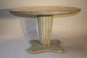 French 1950`s grey/blue painted circular pedestal dining/centre table. - picture 1