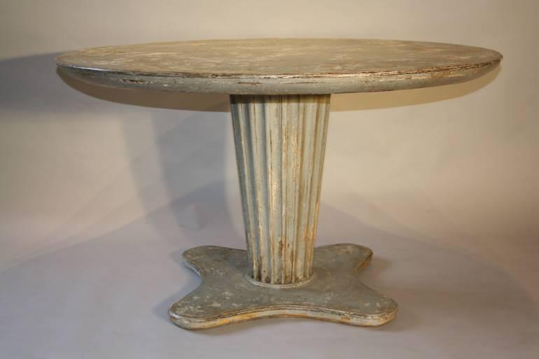 French 1950`s grey/blue painted circular pedestal dining/centre table.