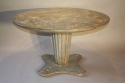French 1950`s grey/blue painted circular pedestal dining/centre table. - picture 2