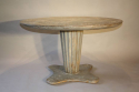 French 1950`s grey/blue painted circular pedestal dining/centre table. - picture 4