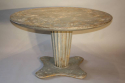 French 1950`s grey/blue painted circular pedestal dining/centre table. - picture 6
