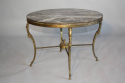 Circular gilt metal and marble side/coffee table, French c1950 - picture 1