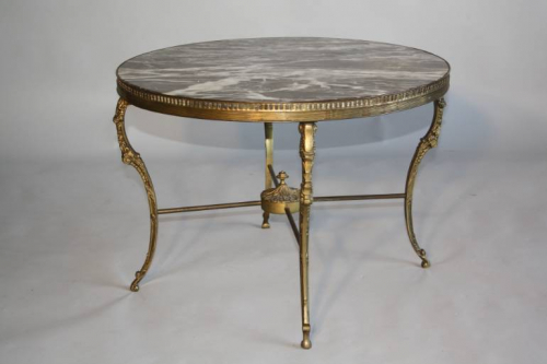 Circular gilt metal and marble side/coffee table, French c1950