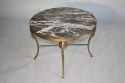 Circular gilt metal and marble side/coffee table, French c1950 - picture 2