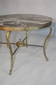 Circular gilt metal and marble side/coffee table, French c1950 - picture 3