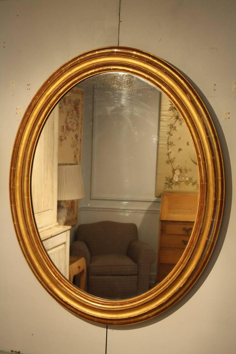 French C19th antique oval mirror