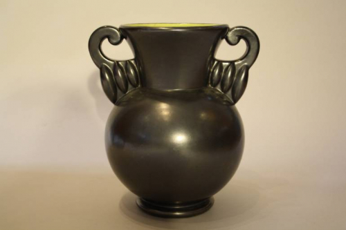 French black glazed vase by B Letalle, c1940