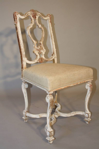 Italian gesso chair with carved masked detail.
