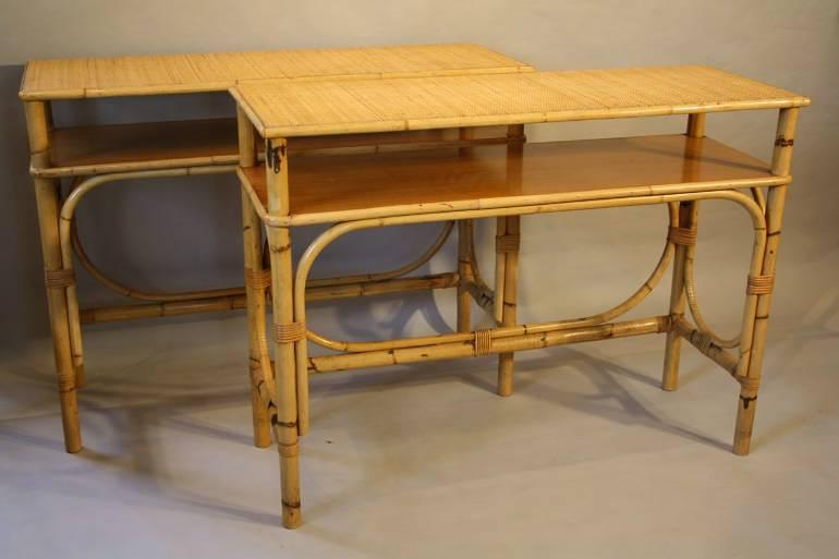 Pair of bamboo and rattan consoles