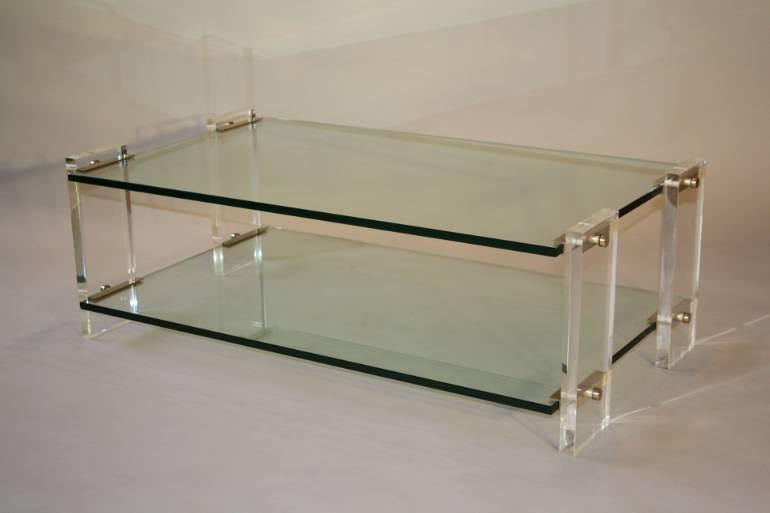 Two tier glass and lucite coffee table, Italian, c1970