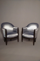A pair of reeded leg Art Deco tub chairs, French c1930 - picture 1