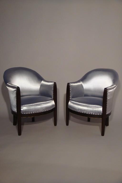 A pair of reeded leg Art Deco tub chairs, French c1930