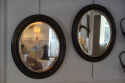 Pair of black ebonised and gold ovals with bevelled glass mirror plate, French Napoleon III c1890 - picture 3