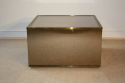 Brown mirror box coffee table with metal edges, French c1970 - picture 1