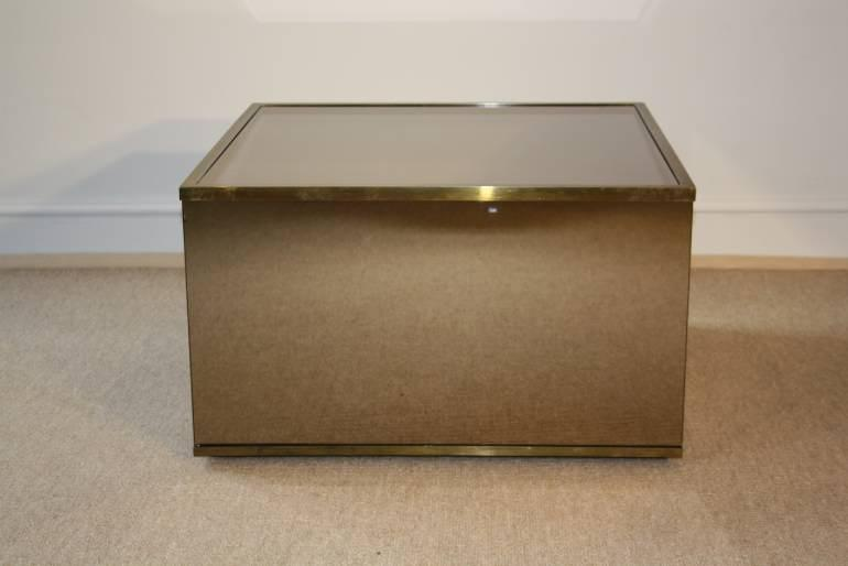 Brown mirror box coffee table with metal edges, French c1970