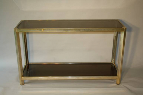Soft gold two tier console table