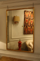 Narrow framed soft gold bistro mirror - picture 1