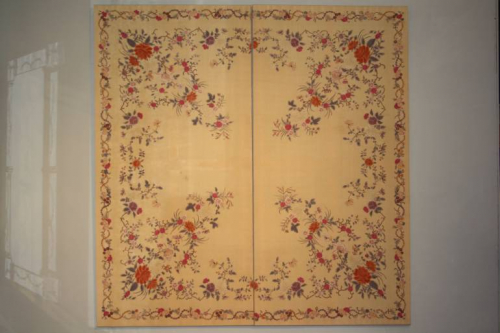 A lovely pair of embroidered silk panels, c19