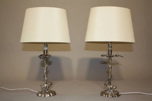 A pair of silver Valenti stag table lamps, c1950