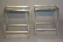 A pair of silver metal bout de canapes (end tables) with slight distressed mirror glass. French c1970 - picture 2