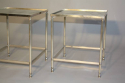 A pair of silver metal bout de canapes (end tables) with slight distressed mirror glass. French c1970 - picture 3