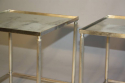 A pair of silver metal bout de canapes (end tables) with slight distressed mirror glass. French c1970 - picture 5