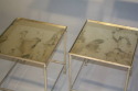A pair of silver metal bout de canapes (end tables) with slight distressed mirror glass. French c1970 - picture 6