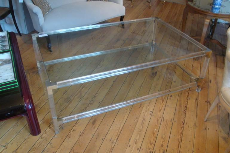 Large rectangular lucite two tier coffee table, French c1970