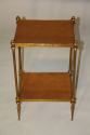 A small elegant two tier leather and brass side table. French c1950`s, stamped Hermes - picture 1